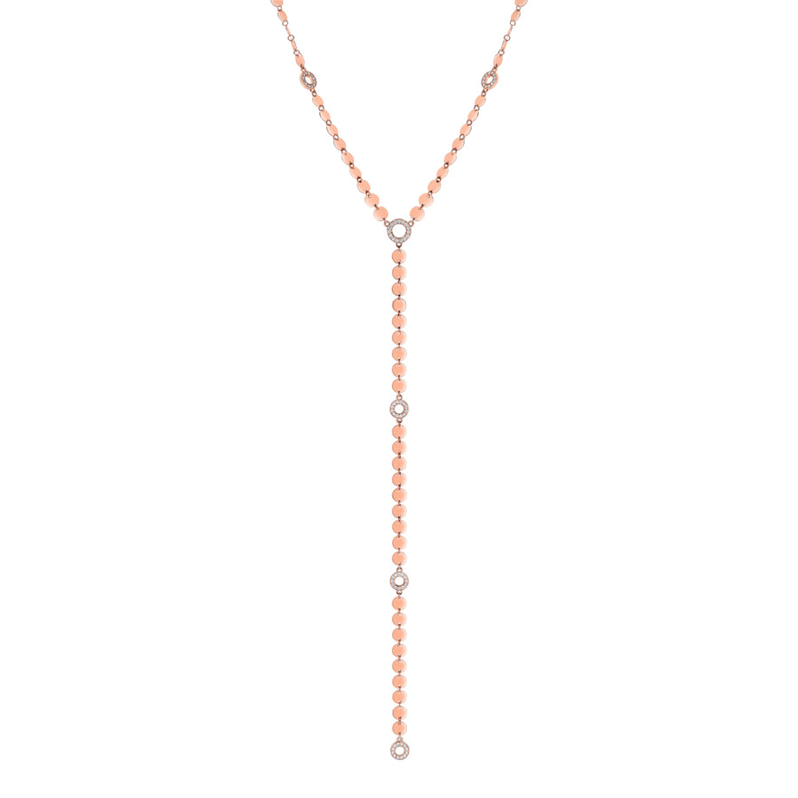 Rose Gold Multi Disk And Diamond Lariat Necklace