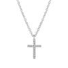 White Gold Mini Diamond Cross Necklace