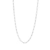 White Gold Paper Clip Link Chain Necklace