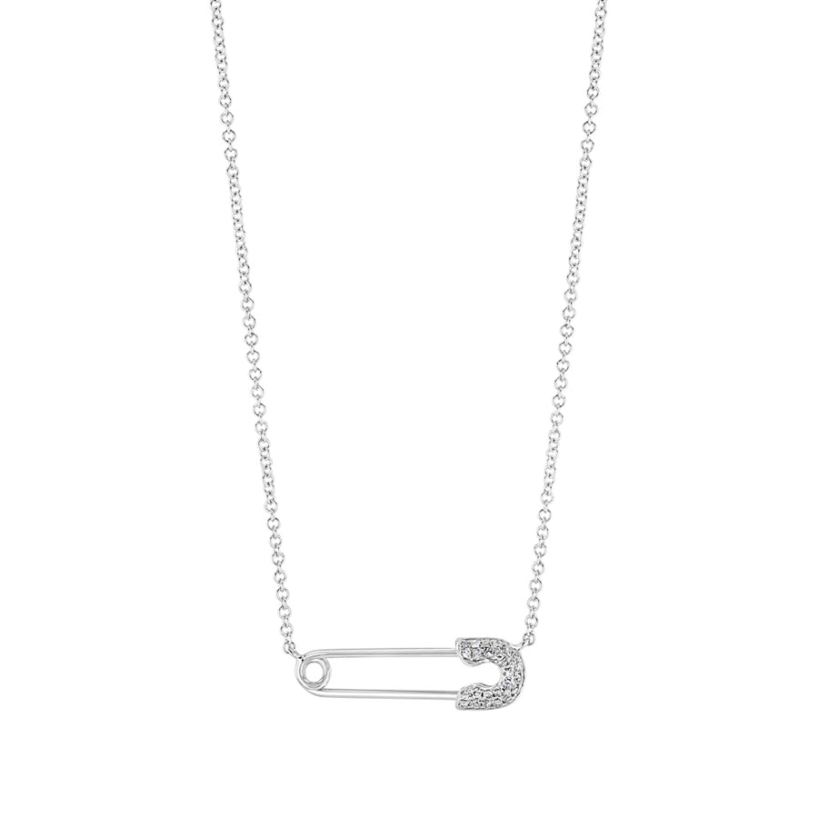 Diamond And Gold Safety Pin Necklace