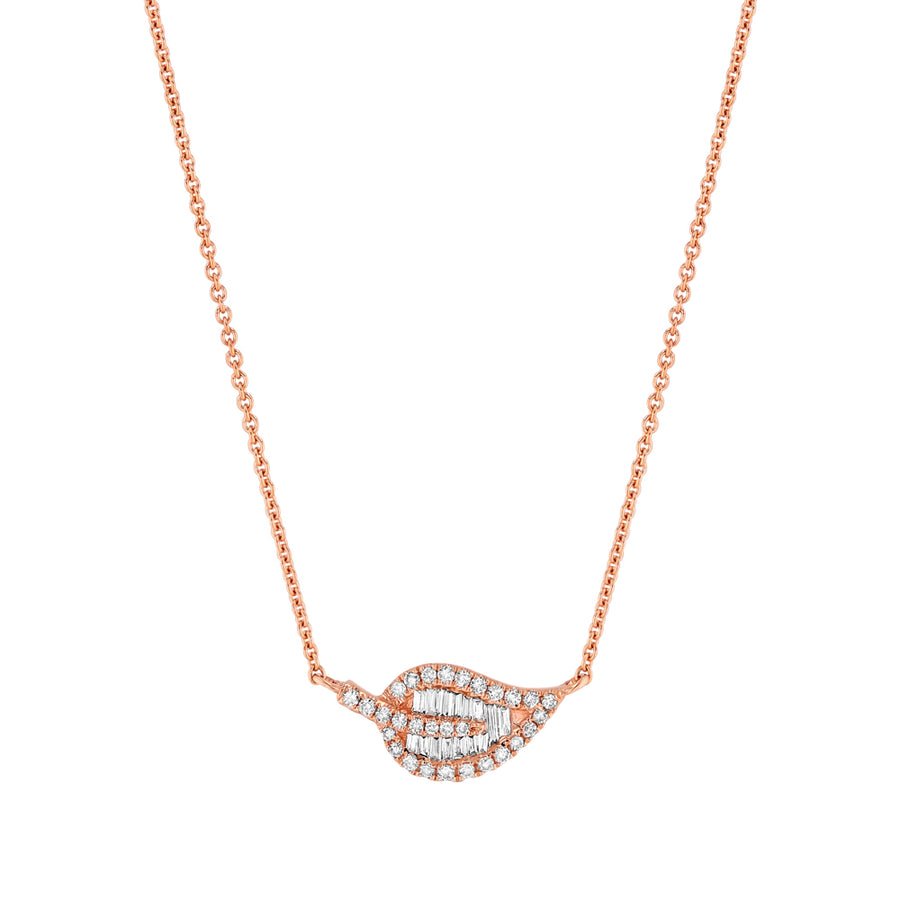 Rose Gold Diamond Baguette Leaf Necklace