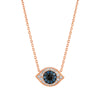 Rose Gold Blue Diamond Evil Eye Necklace