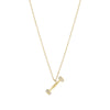 Gold Diamond Dumbbell Pendant Necklace
