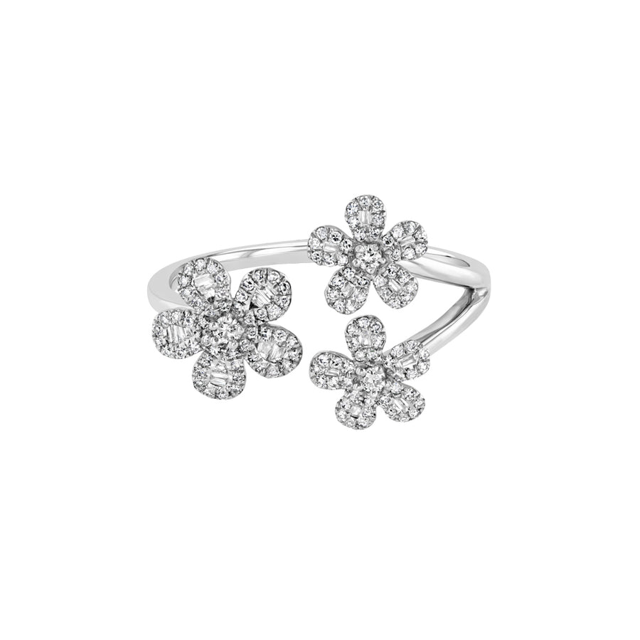 White Gold Triple Diamond Flower Ring