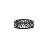 Silver With Black Halo Faux Diamond Flower Eternity Ring