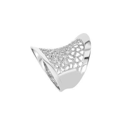 Silver Cut Out Cocktail Ring
