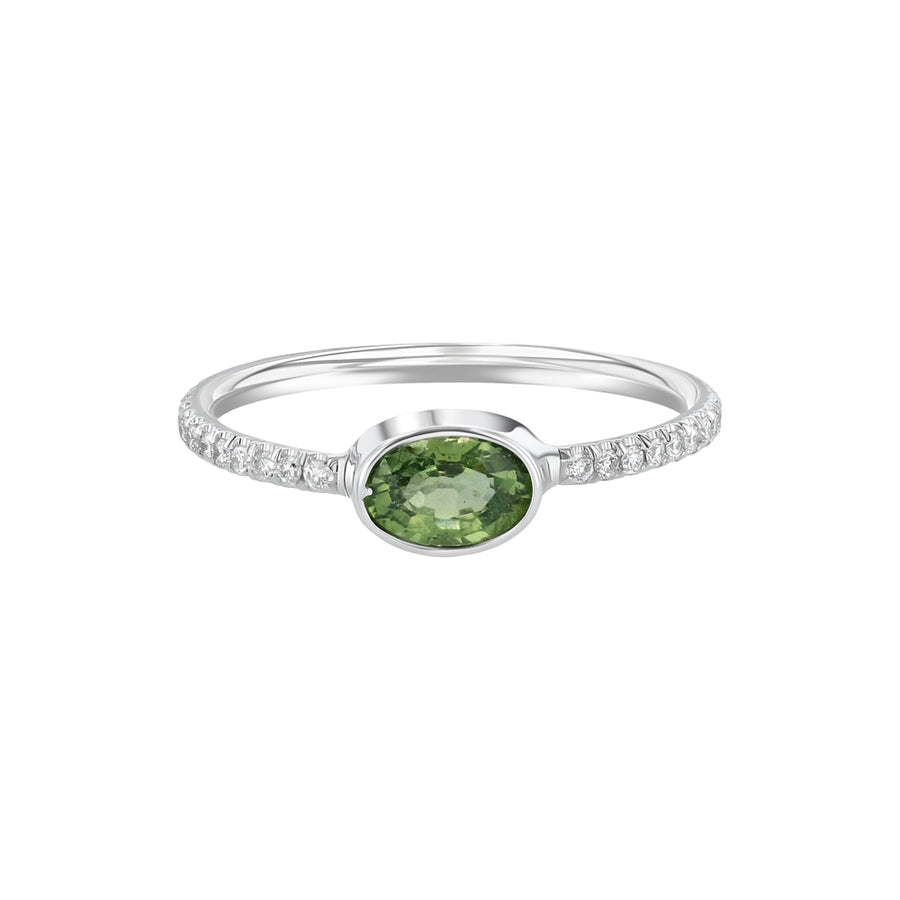 White Gold Diamond Oval Green Sapphire Stacking Ring