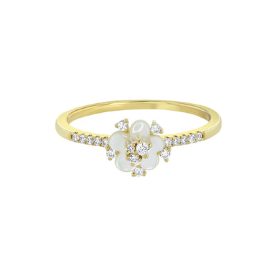 Yellow Gold Diamond Mother Of Pearl Flower Stacking Ring
