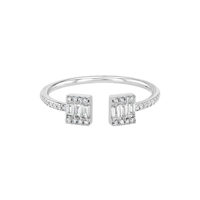 White Gold Open Baguette Stacking Ring