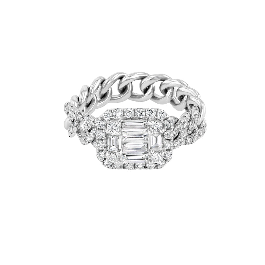 Chain Link Diamond Baguette Ring