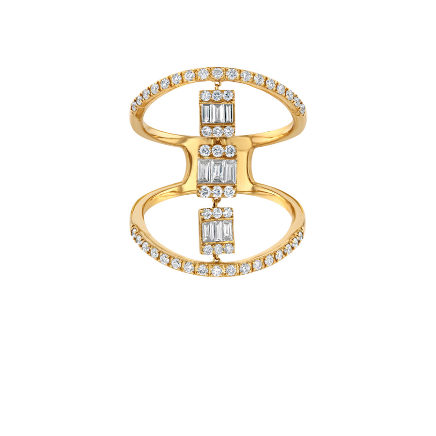Halo Diamond Baguette Cocktail Ring