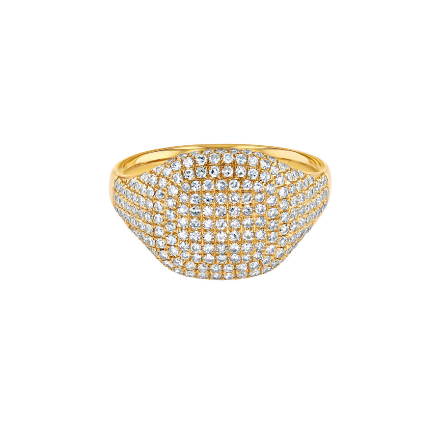 Gold And Diamond Cushion Pinky Ring
