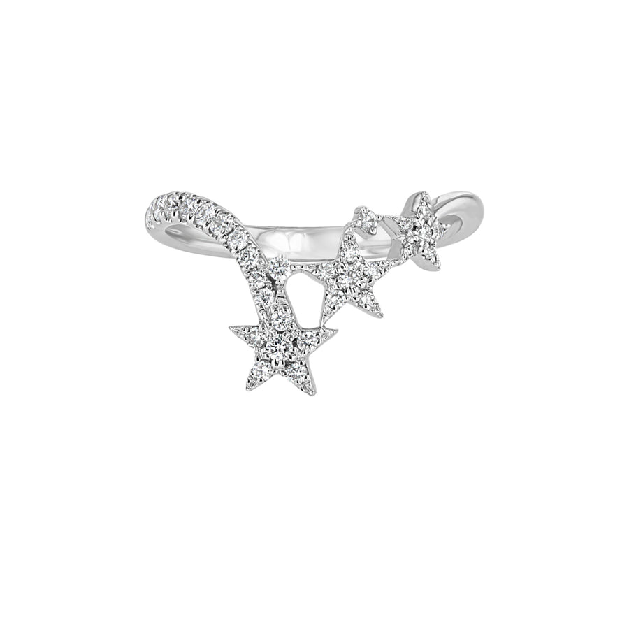 Chevron Gold And Diamond Triple Star Ring