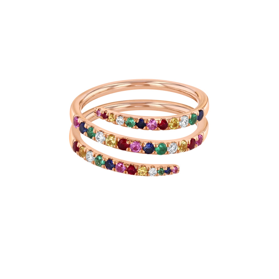 Rainbow Diamond Coil Ring