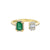 Yellow Gold Emerald And Diamond Baguette Open Ring
