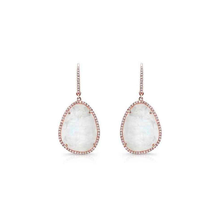 Diamond Moonstone Drop Earrings