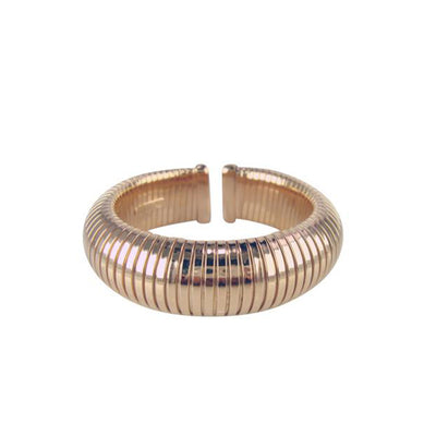 Rose Domed Push On Cuff Bangle