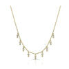 Yellow Gold Diamond Double Bezel Drop Choker Necklace