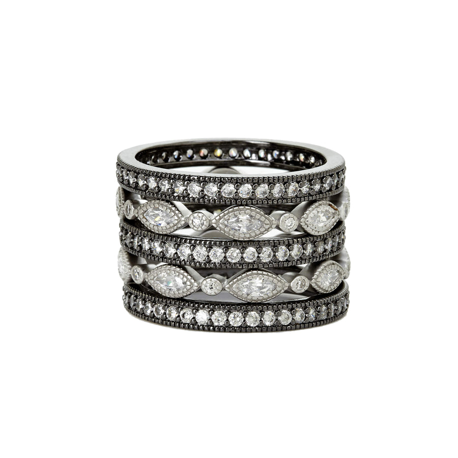 Silver and Black Eternity Rings