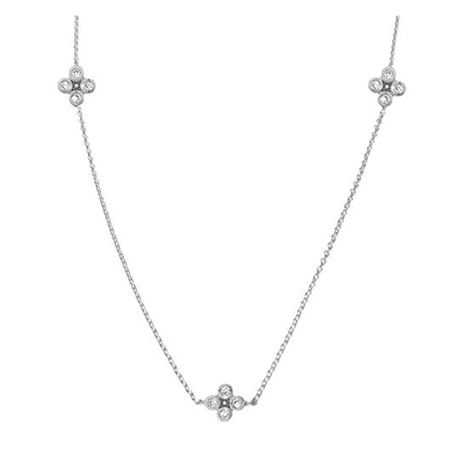 Silver Flower Chain Necklace