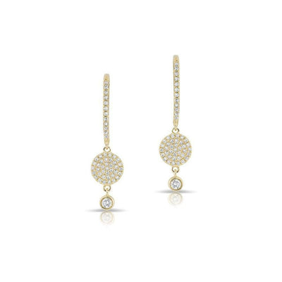 Yellow Gold Diamond Disk Small Hoop Earring