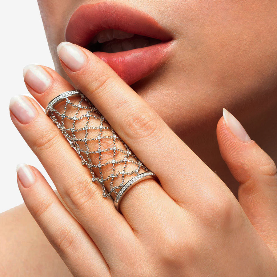 White Gold Diamond Moving  Mesh Ring