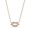 Gold Diamond Lip Necklace