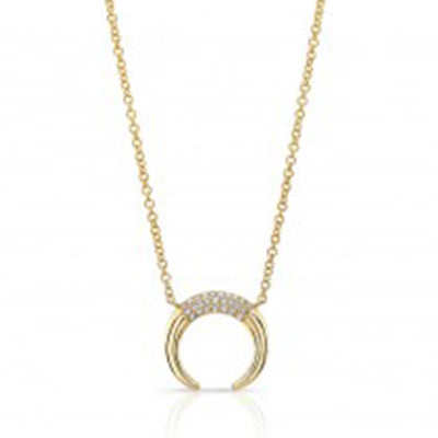 Gold Diamond Mini Horn Necklace