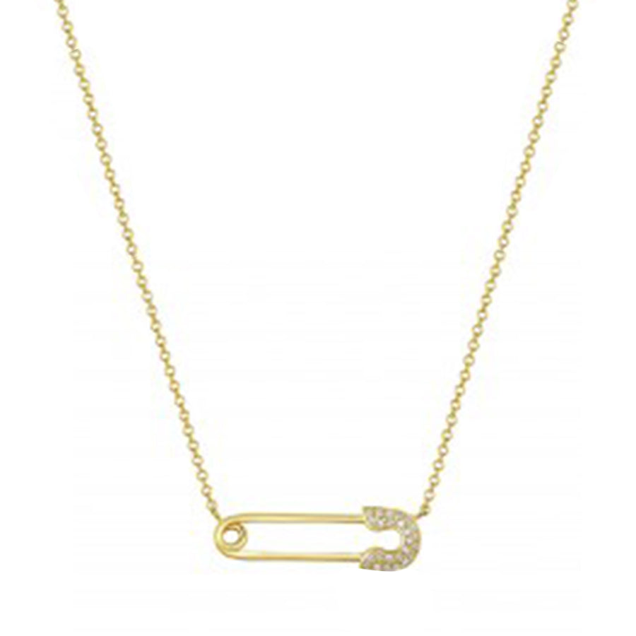 Gold Diamond Safety Pin Necklace
