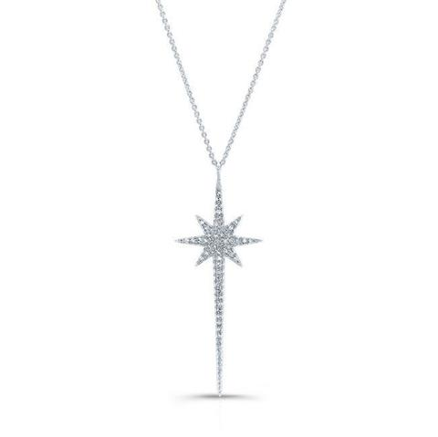 White Gold Diamond Star Pendant Necklace