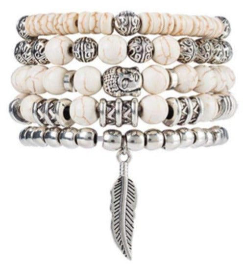 White Beaded 5 Piece Buddha and Feather Bracelet Set
