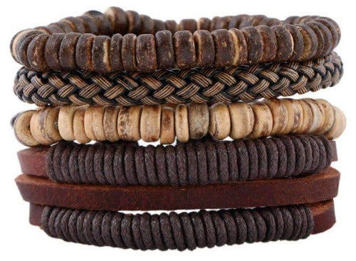 Boho Braided Coconut Shell, Hemp And Leather Multilayer Bracelet Set