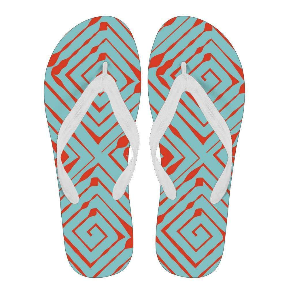 Women's Red and Teal Maze Design Flip Flops