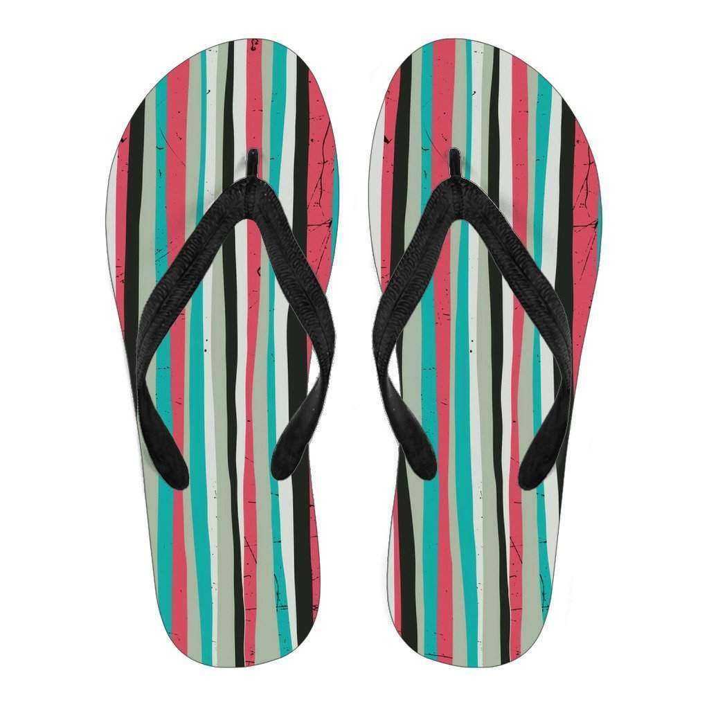 Women's Pink and Teal Striped Flip Flops