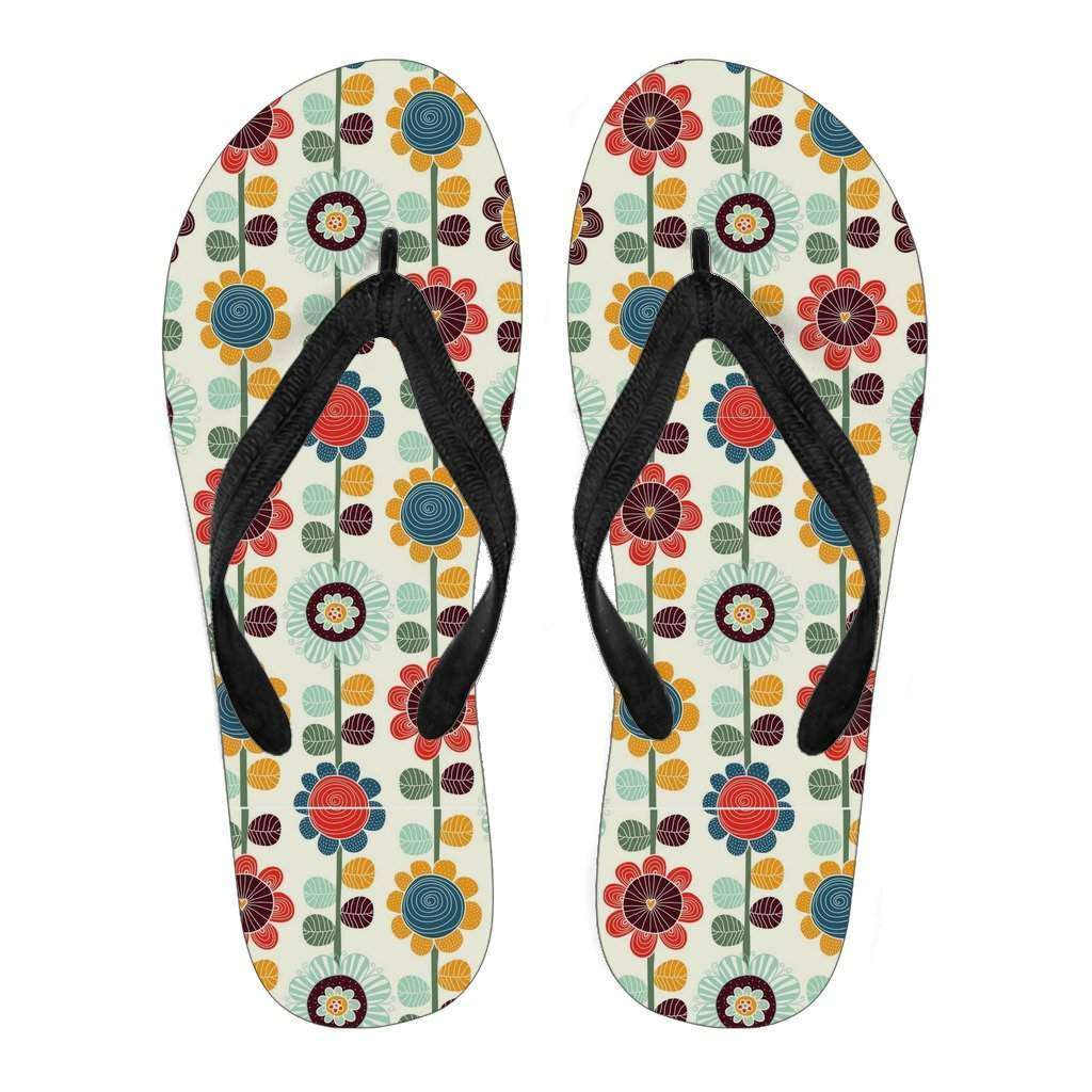 Women's Retro Flowers Flip Flops