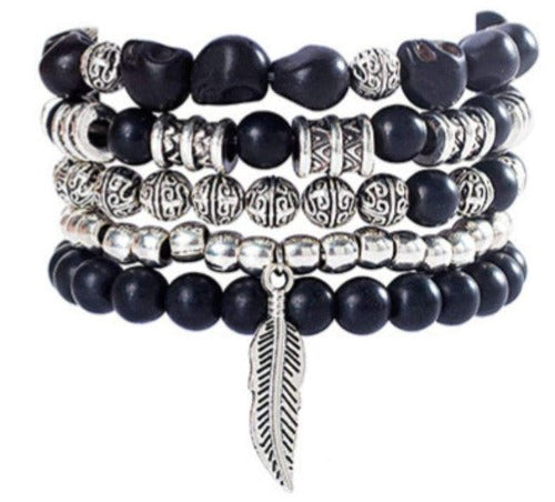 Black Beaded 5 Piece Buddha and Feather Bracelet Set