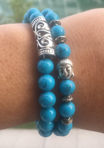 The Buddha and Silver Charm Bead Bracelet Set