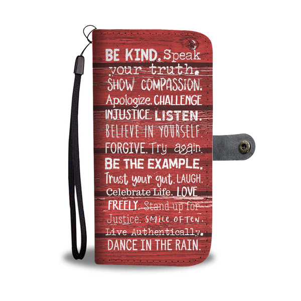 Women's Red Wooden Motivational Sayings Phone Case and Wallet
