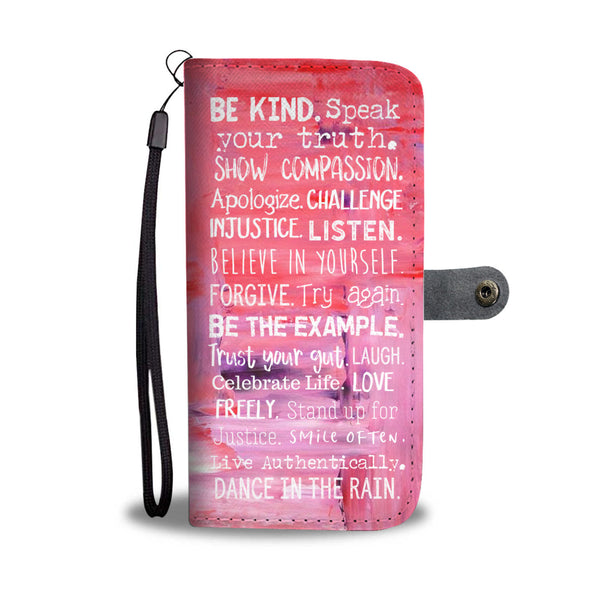 Women' Pink Paint Motivational Wallet and Phone Case