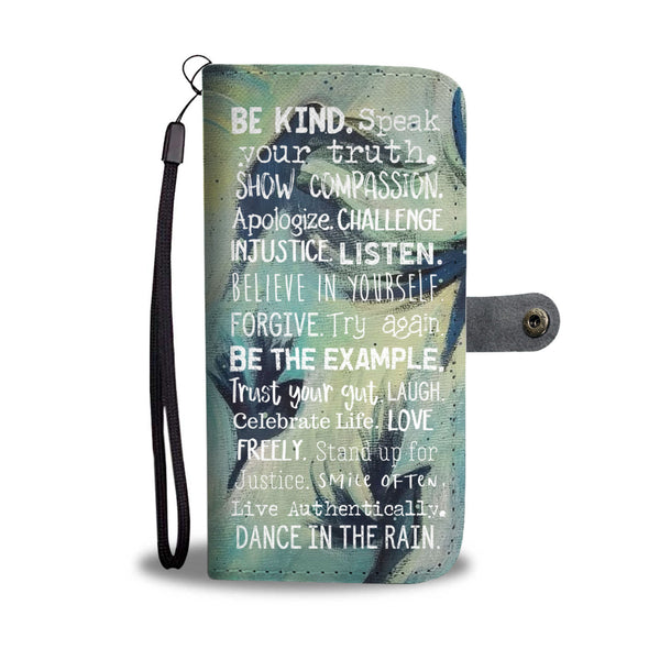 Womens Black Birds Flying Motivational Wallet and Phone