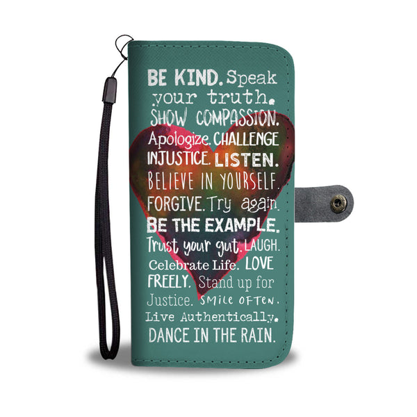 Teal Wallet and Phone Case with Watercolor Heart and Motivational Sayings