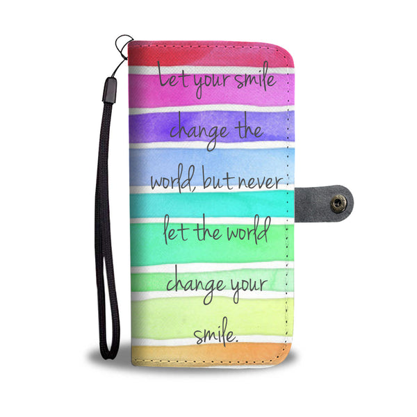 Striped Watercolor Smile Quote Wallet and Phone Case