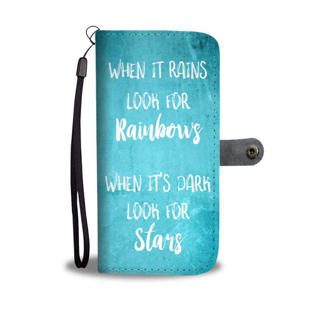 Teal Rainbows Stars Quote Wallet and Phone Cases