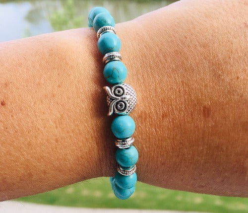 Owl Charm and Turquoise Beads Bracelet