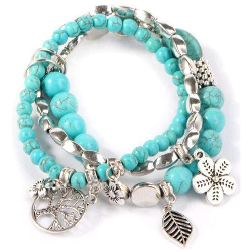 Nature's Bounty Turquoise Beaded 3 Piece Bracelet Set
