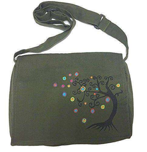 Army Green Handmade Hippie Boho Cross Body Messenger Bag with Himalayan Tree