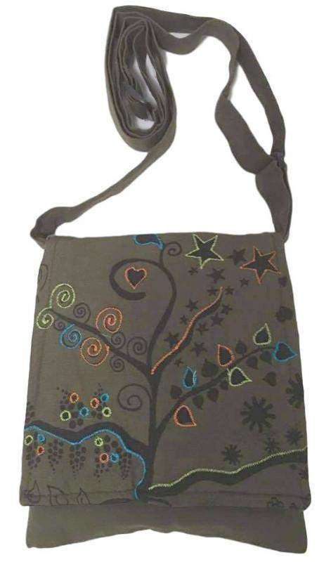 Army Green Handmade Hippie Boho Cross Body Passport Bag With Embroidered Tree Of Life