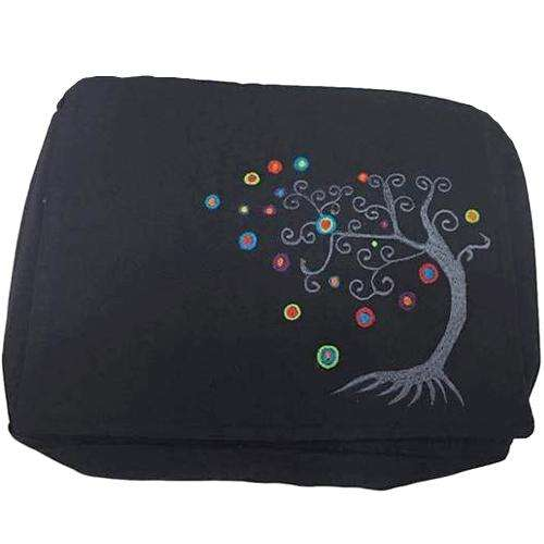 Black Handmade Hippie Boho Cross Body Messenger Bag with Embroidered Himalayan Tree and Adjustable Strap