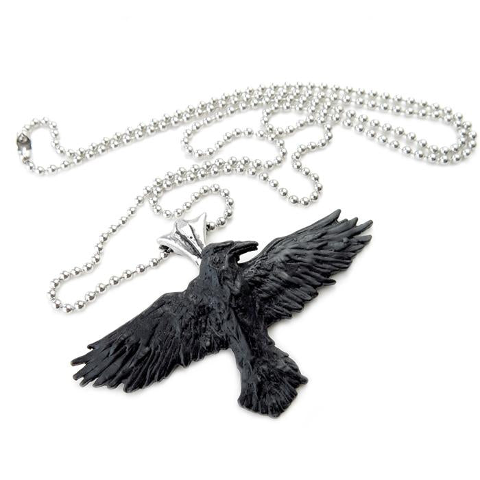 Black Raven Necklace - English Pewter