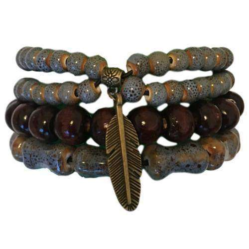 Blue-gray Ceramic And Boho Brown Wooden Bead With Feather Bracelet Set